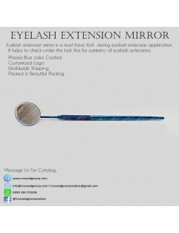 Eyelash mirror in blue plasma color coated