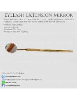 Eyelash mirror in gold plasma color coated