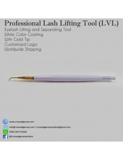 lash lifting tool in white color with gold tip