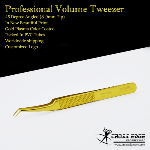 45 degree angled volume tweezer with new holding grip 8-9mm tip