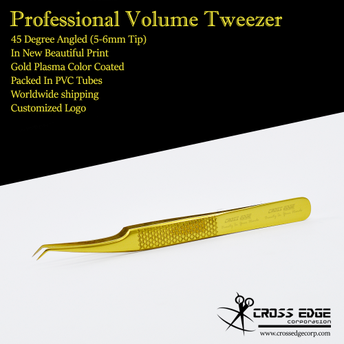 45 degree angled volume tweezer with new holding grip 5-6mm tip