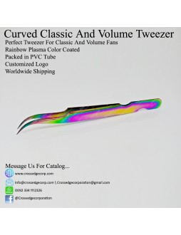 CURVED TIP VOLUME TWEEZER WITH BASCUT