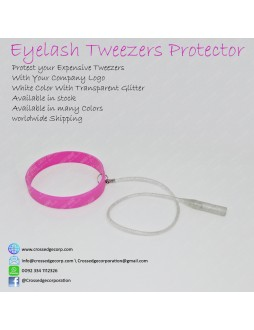 Tweezers protector (pink and transparent glitter)
