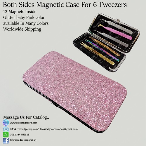 Six tweezers magnetic frame (Glitter baby pink)