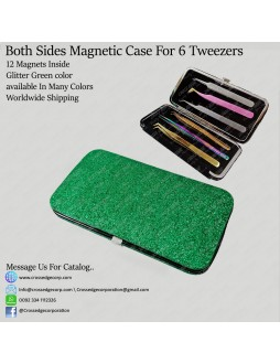 Six tweezers magnetic frame (Glitter  Green)
