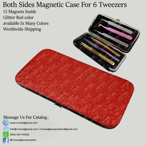 Six tweezers magnetic frame (Glitter Red)