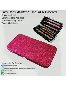 Six tweezers magnetic frame (Glitter Pink)