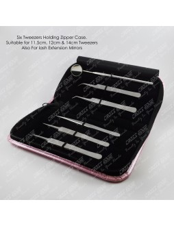 Six Tweezers elastic base ZIPPER case