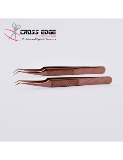 45 degree angled volume tweezers set with new holding grip