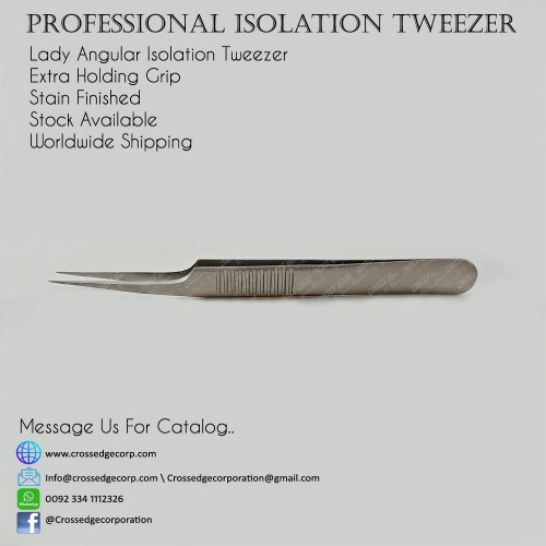 lady angular isolation tweezer with extra holding grip